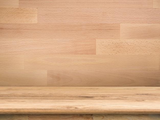 Balcão de madeira com fundo de madeira