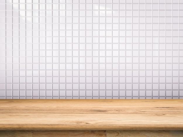 Balcão de madeira com fundo de mosaico branco