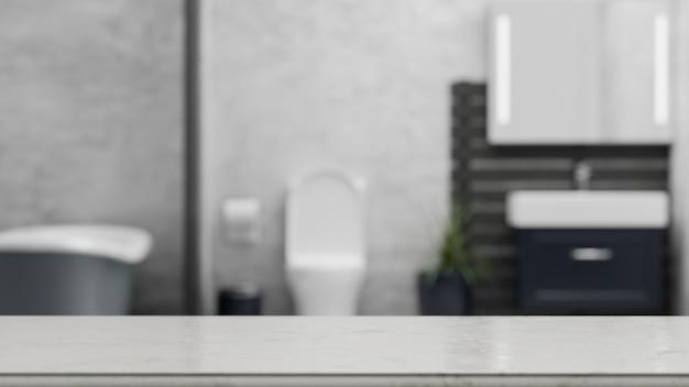 Balcão de mesa de mármore vazio para montagem sobre fundo desfocado do interior do banheiro renderin 3d