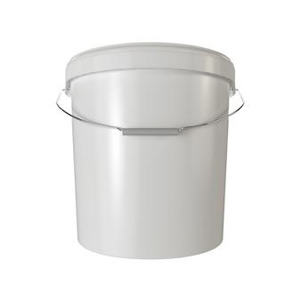 Balde de plástico branco isolado d ilustração de renderização