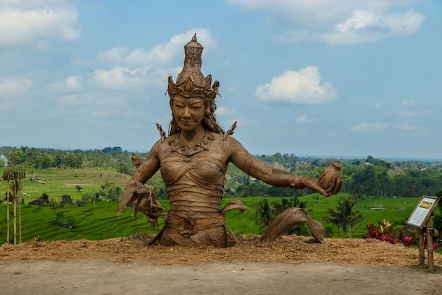 Bali, indonésia: estátua de dewi sri, a deusa do arroz, feita a partir de folhas de plantas de arroz secas, localizada no centro dos terraços jatiluwih, um patrimônio da unesco