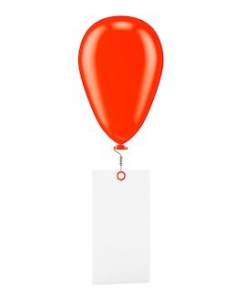 Ballon vermelho com banner em branco, isolado no branco