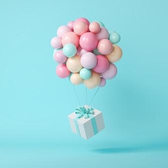 Balões 3d e caixa de presente