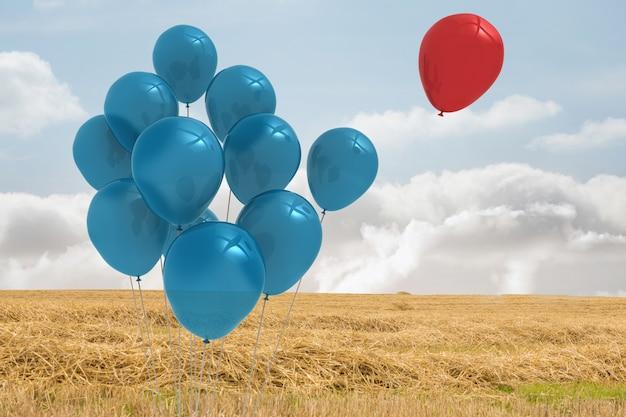 Balões acima de um campo
