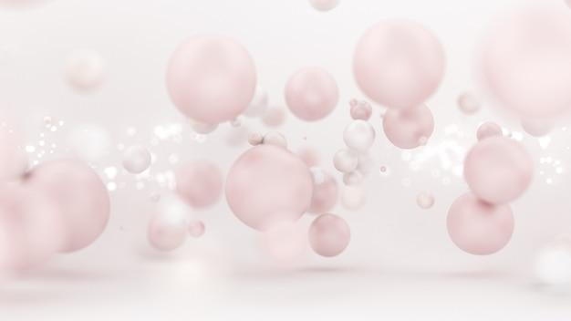 Balões brancos brilhantes em ilustração 3d