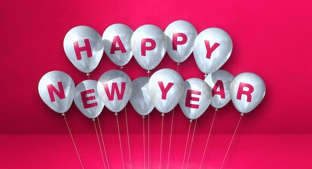 Balões brancos de feliz ano novo amontoam-se em um fundo rosa de concreto. banner horizontal. ilustração 3d render