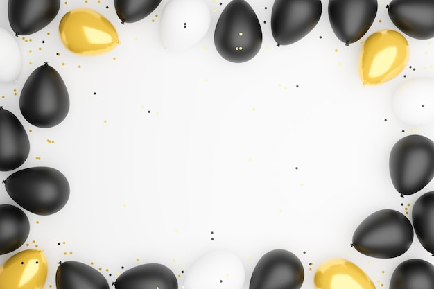 Balões brancos, pretos e dourados colocados em um fundo branco