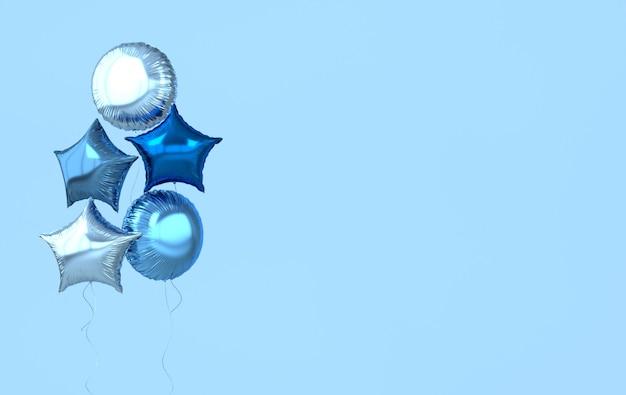 Balões coloridos e dourados isolados em azul render