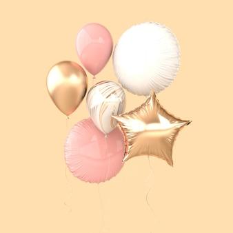 Balões coloridos e dourados isolados em fundo bege