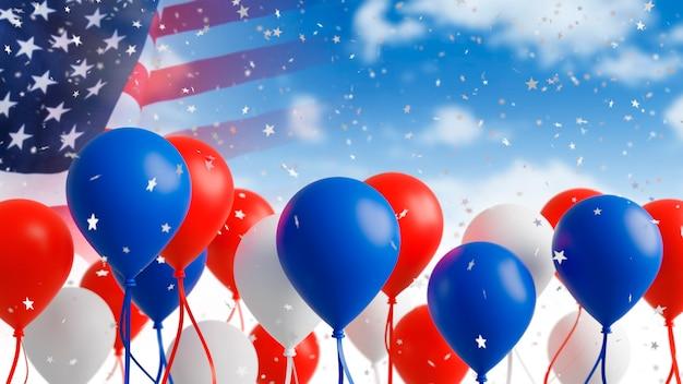 Balões com a bandeira dos eua no fundo do céu 3d render