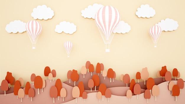 Balões cor-de-rosa no fundo da montanha e do céu. arte finala para o festival internacional do balão