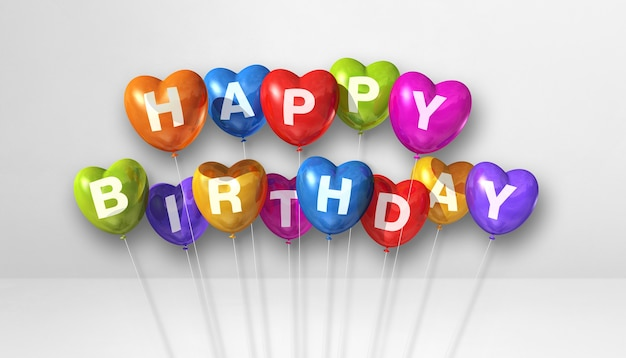 Balões de ar coloridos da forma do coração do feliz aniversário em uma cena de fundo branco. banner horizontal. ilustração 3d render