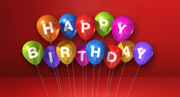 Balões de ar coloridos de feliz aniversário em uma cena de fundo vermelho. banner horizontal. ilustração 3d render