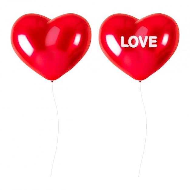 Balões de coração vermelho isolados no fundo branco