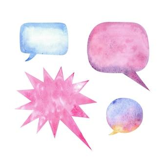 Balões de fala em aquarela com manchas e textura de papel.