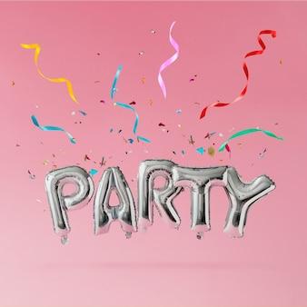 Balões de festa com sprinklers azuis e confetes coloridos na parede rosa pastel. conceito de celebração.