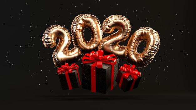 Balões de folha dourada 2020 renderização ilustração com caixas de presentes, fita vermelha, glitter dourados voando.