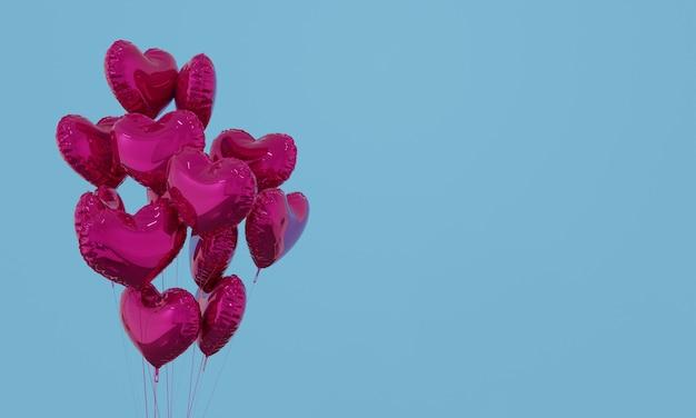 Balões de forma de coração roxo sobre fundo azul. ilustração de renderização 3d.
