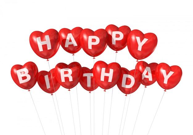Balões de forma de coração vermelho feliz aniversário 3d isolado no branco