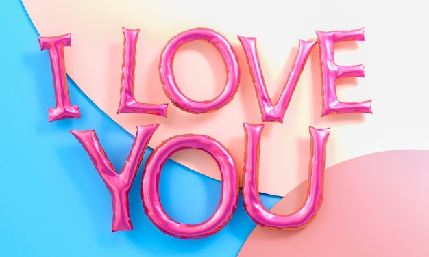 Balões de mensagens de amor