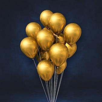 Balões de ouro amontoados em um fundo de parede preta. ilustração 3d render