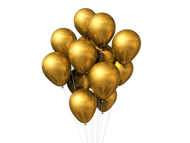 Balões de ouro isolados no branco