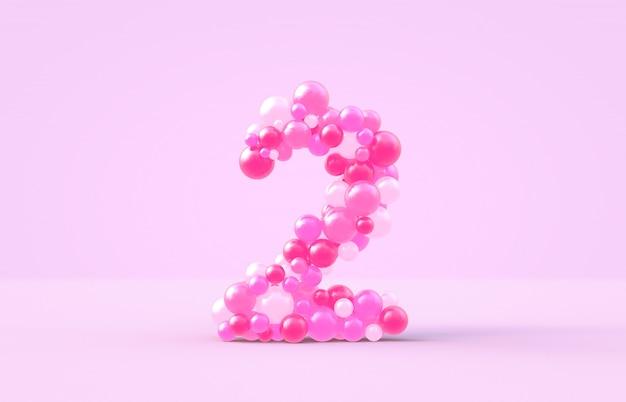 Balões doces doces cor-de-rosa número 2.
