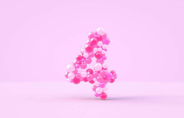 Balões doces doces cor-de-rosa número 4.