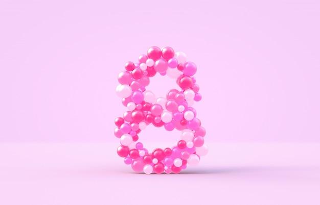 Balões doces doces rosa número 8.