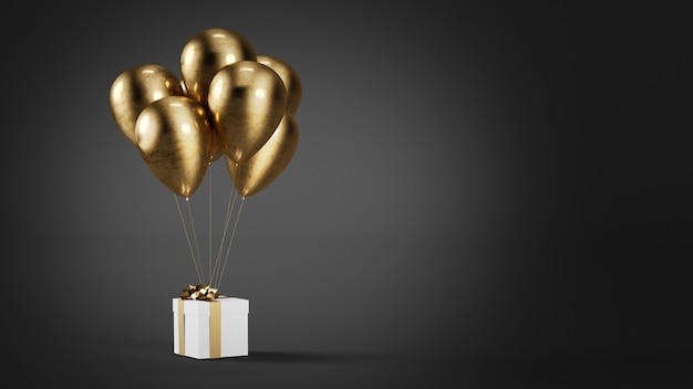 Balões dourados com caixa de presente renderização 3d