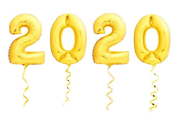 Balões dourados do natal 2020 feitos de balão inflável com fita dourada no branco