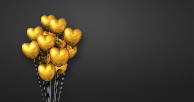 Balões dourados em forma de coração amontoados em uma parede preta