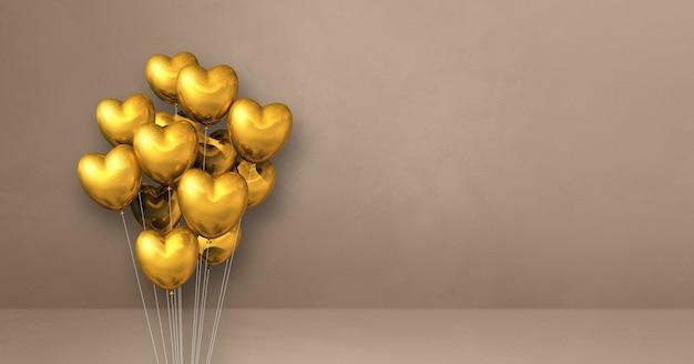 Balões dourados em forma de coração amontoados em uma superfície bege