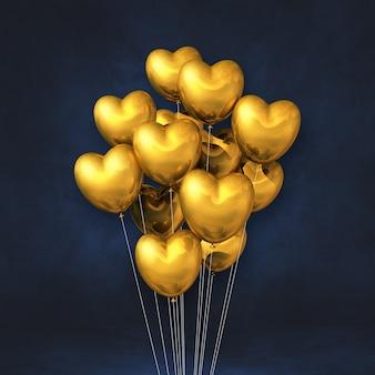 Balões dourados em forma de coração amontoados em uma superfície preta