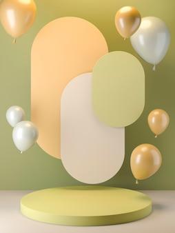 Balões e arranjo de palco