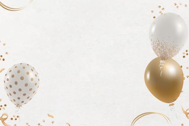 Balões festivos contornam o fundo branco