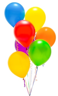 Balões isolados no fundo branco. colori. grupo. de várias