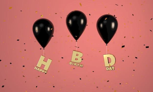 Balões pretos com letras douradas de feliz aniversário