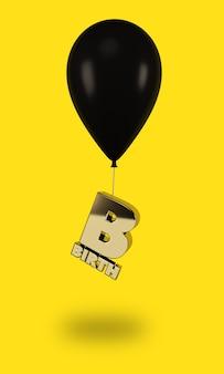 Balões pretos com letras douradas de nascimento