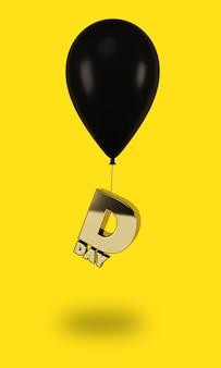 Balões pretos com letras douradas do dia