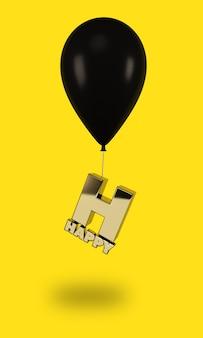 Balões pretos com letras felizes douradas
