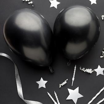 Balões pretos de vista superior