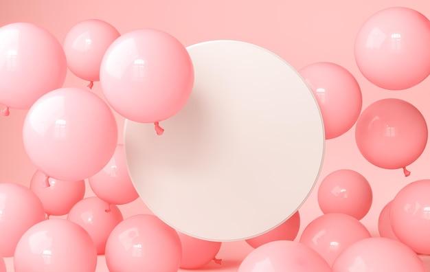 Balões rosa com tela circular vazia