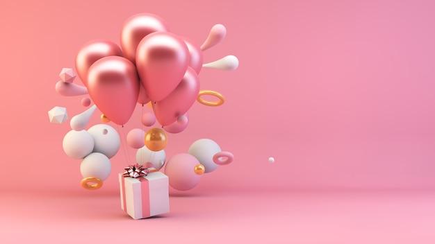 Balões segurando presente rosa