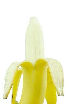 Banana descascada em fundo branco