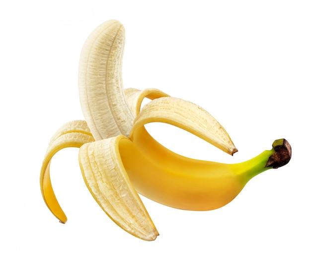 Banana descascada isolada no fundo branco com traçado de recorte