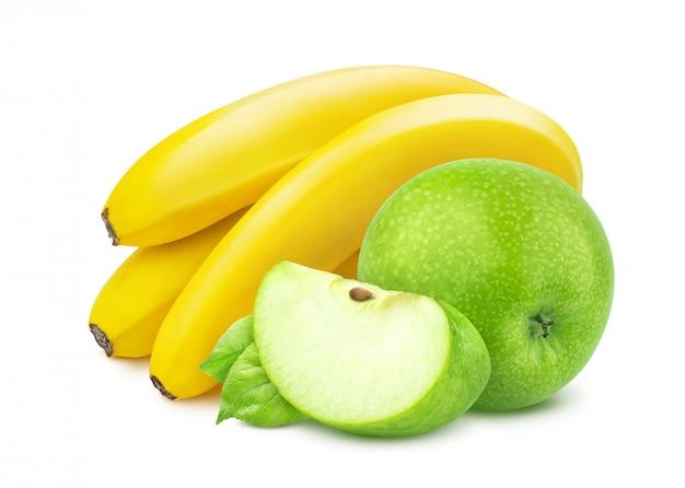 Banana e maçã isolado no fundo branco