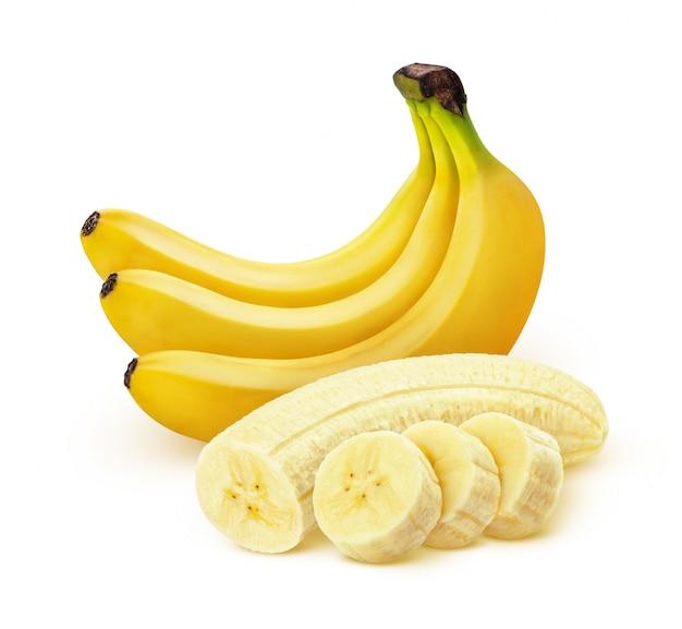 Banana isolada no fundo branco com traçado de recorte