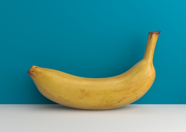 Banana mínima na rendição azul do fundo 3d.