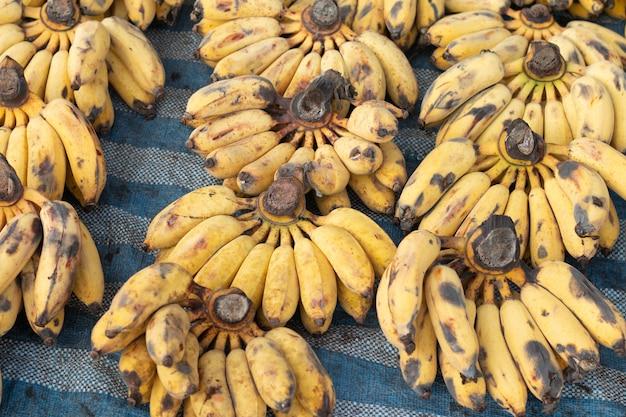 Bananas frescas estão nas prateleiras para vender